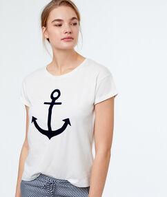 T-shirt imprimé ancre blanc.