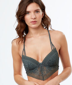 Lace demi-cup padded bra, basque khaki.
