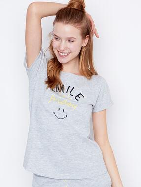 Smiley printed top grey.