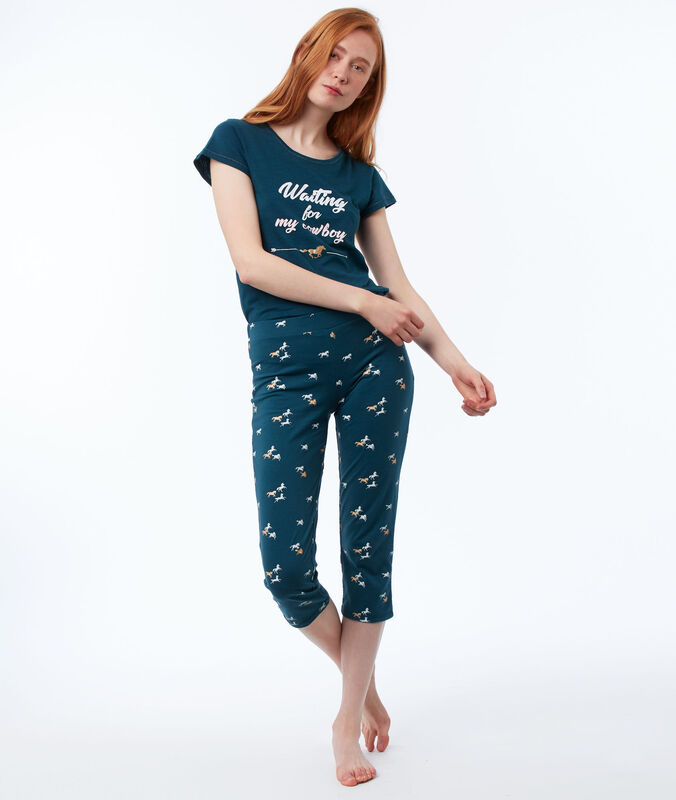 Horse print trousers blue.