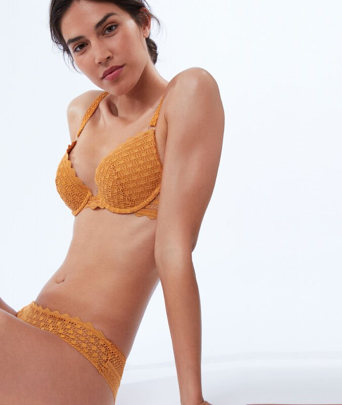 Bra no. 2 - lace plunging push-up bra, double straps gold button.