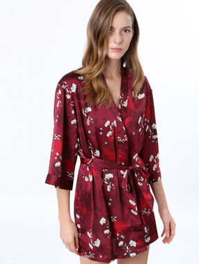 Satine printed negligee burgundy.
