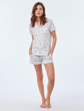 Unicorn printed pyjama shirt white.