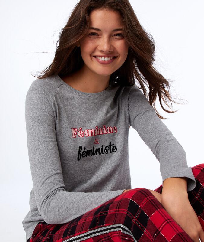 Top de pyjama manches longues gris.