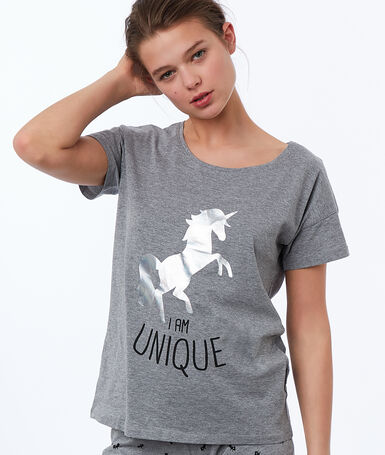 Statement unicorn print t-shirt gray.