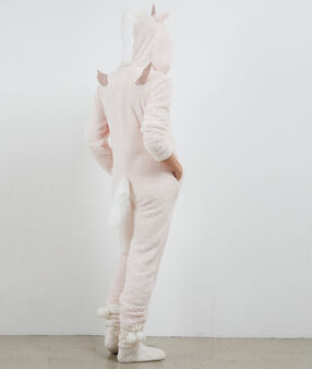Unicorn onesie pale pink.