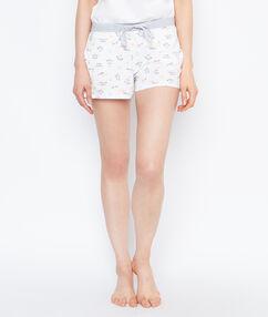 Printed smiley pyjama shorts white.