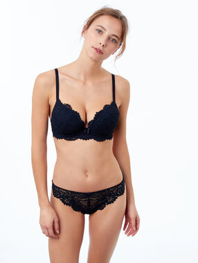Lace tanga midnight blue.