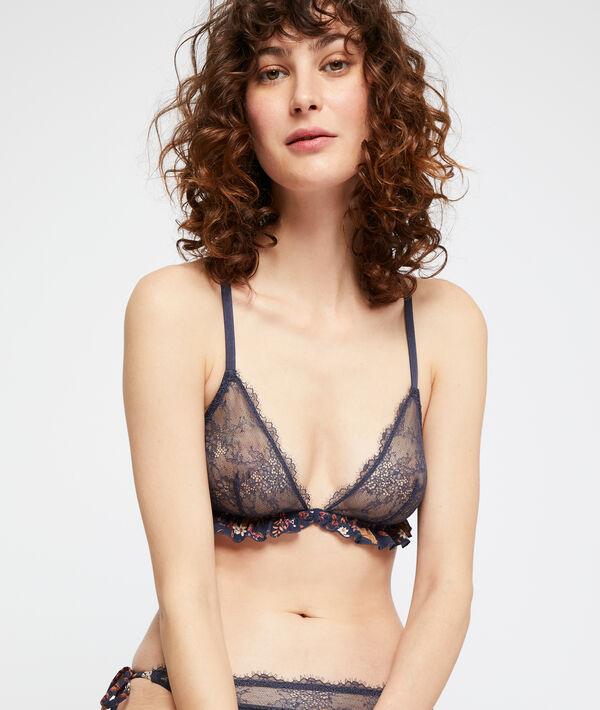 Non underwired triangle bras, lace back;${refinementColor}