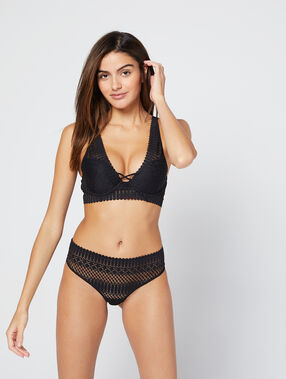Bra n°3 - triangle bra crossed neckline at the front black.