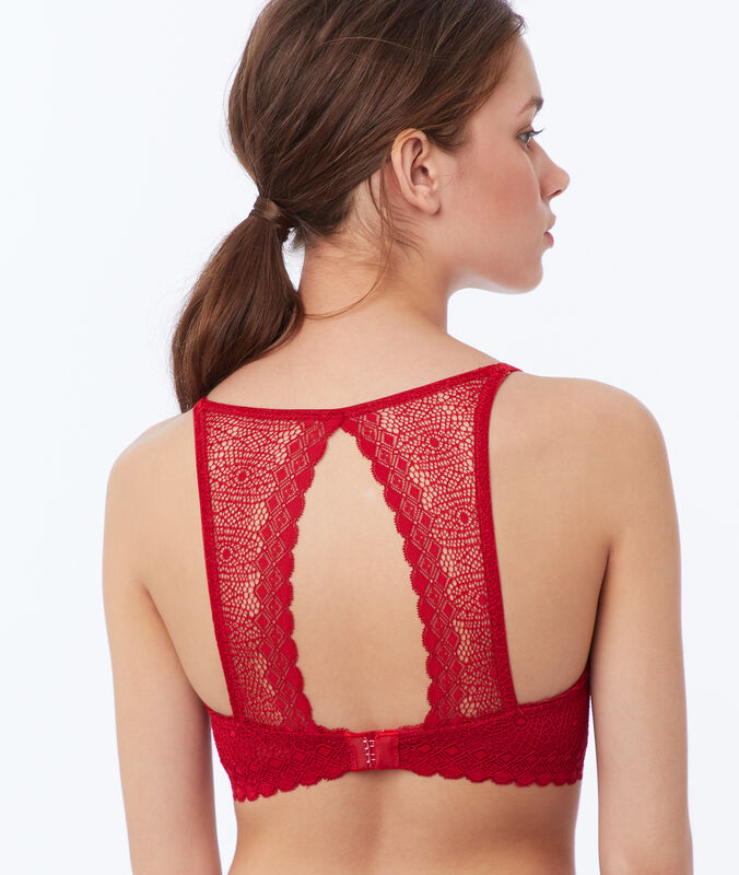 Light padded lace bra red.