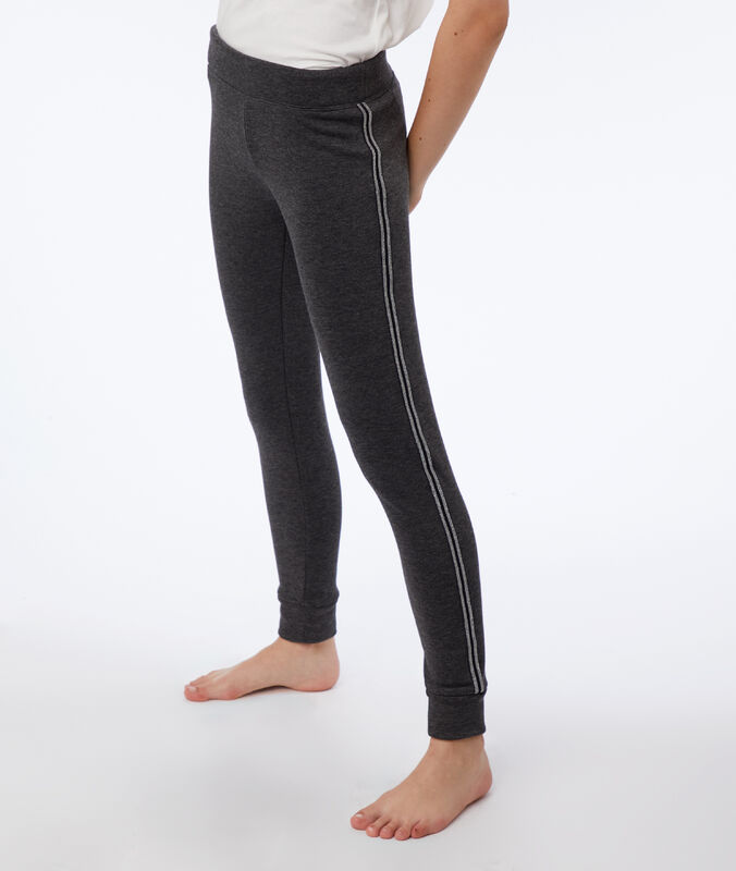 Pants with metallic edges anthracite.