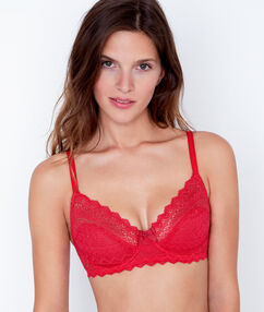 Lace demi cup red.