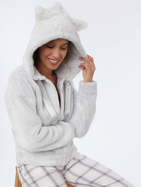 Homewear jacket cat ears light gray.