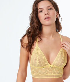 Lace triangle bra with basque yellow.