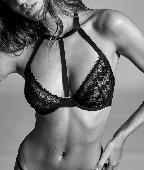 Demi-cup bra in fine lace, removable choker