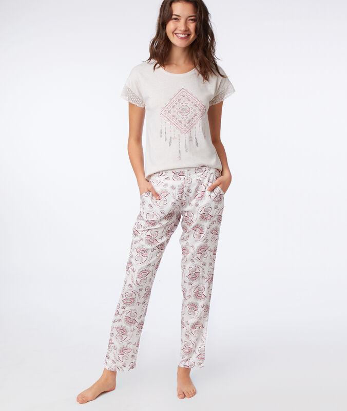 Pantalon imprimé floral ecru.