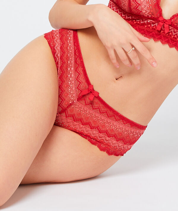 Geometric lace Brazilian briefs