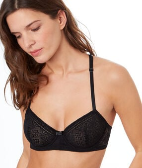 Lace balconnette bra, racer back black.