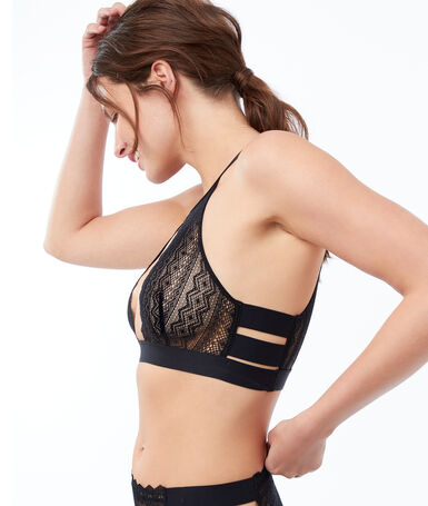 Openwork lace bra, 3 bands black.