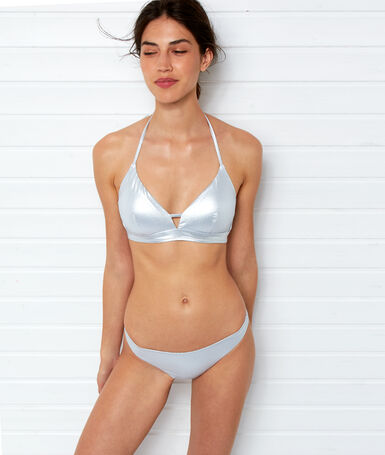 Simple iridescent bikini bottoms silver.