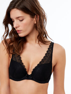 Lace triangle push up bra black.