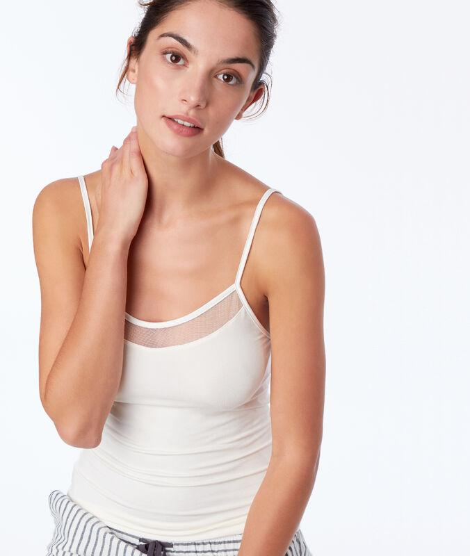 Lace neckline top ecru.