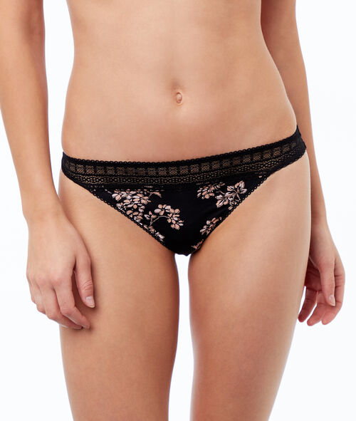 Microfiber string with lace trim