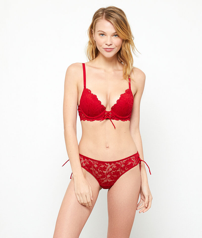Lace tanga brief with lace up details;${refinementColor}