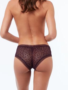 Bi-material shorts violet.