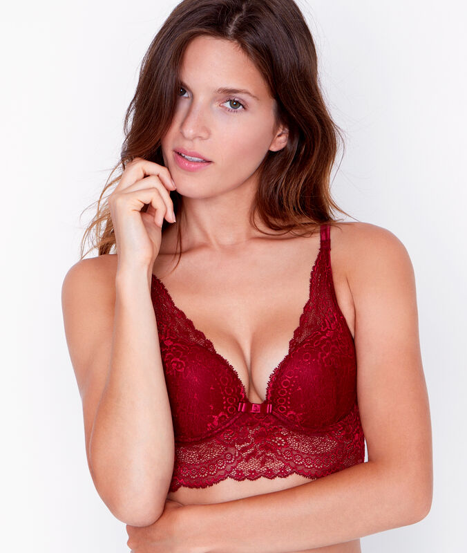 Lace triangle bra, push up burgundy.
