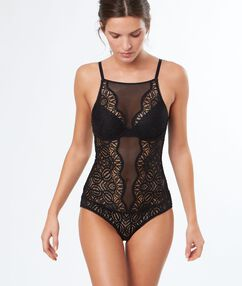 Padded lace body black.
