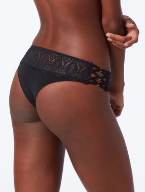 Lace knickers with ties black.
