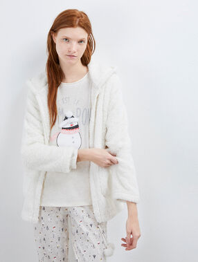 Three piece pyjama with snowman print beige.