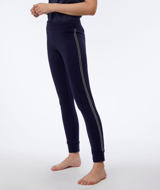 Pants with metallic edges navy.