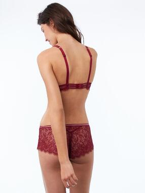 Delicate lace microshorts garnet burgundy.