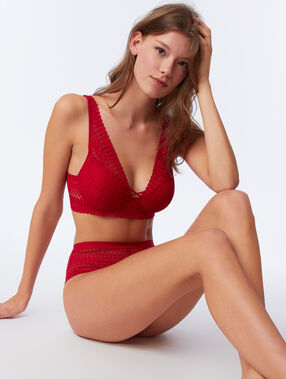 Bra n°6 - lace triangle bra red.