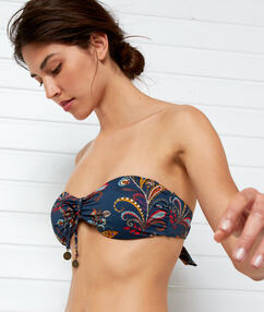 Bandeau bikini top marine background print.