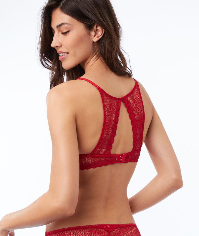 Bra no. 2 - lace plunging push-up, racer back red.