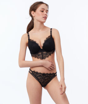 Bra no. 5 - classic padded lace bra with basque black.