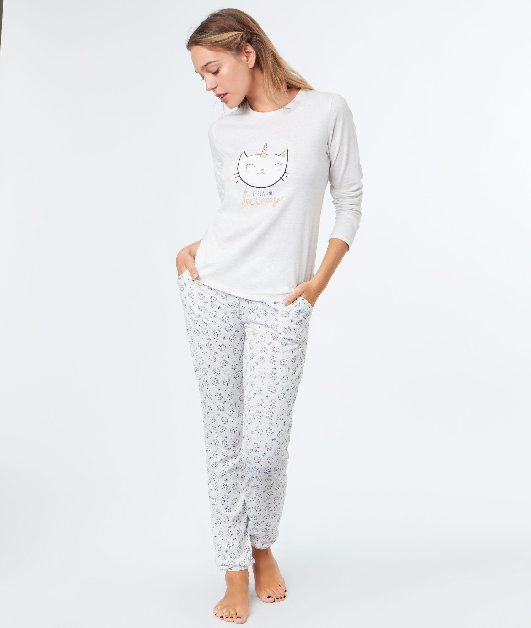 pyjama 3 pi ces chat licorne. Black Bedroom Furniture Sets. Home Design Ideas