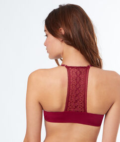 Push up bra, racer back burgundy.