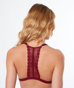 Lace triangle, racer back burgundy.
