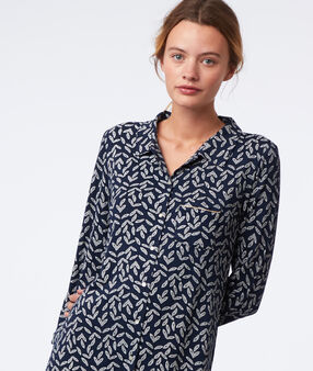 Leaves print nightdress navy.