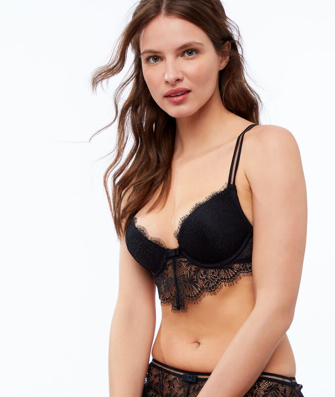 Bra no. 2 - lace plunging push-up bra with decorative underband black.