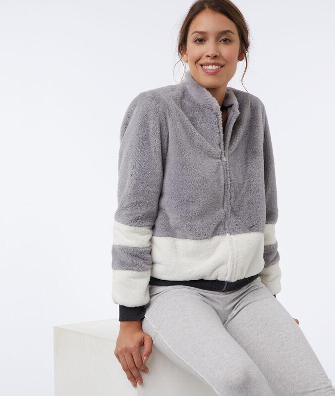 Faux fur jacket gray.