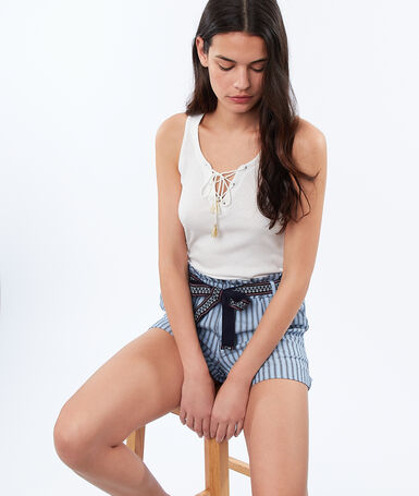 Striped shorts blue.
