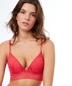 Lace push-up bra with basque pink.