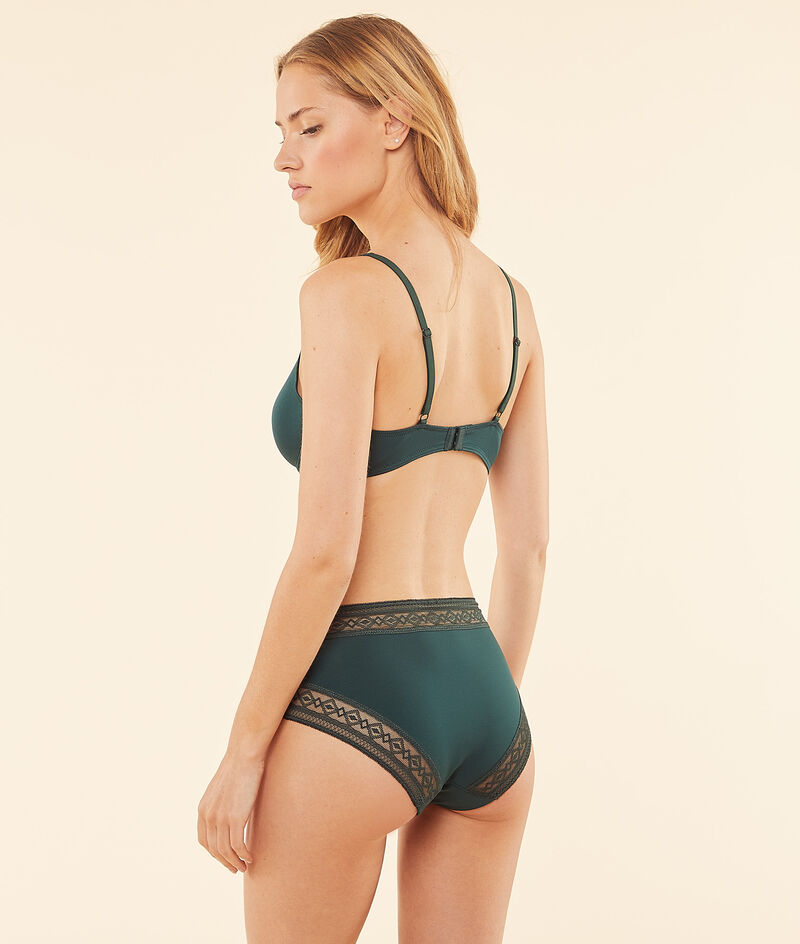 Non-wired halter triangle bra with lace details ;${refinementColor}
