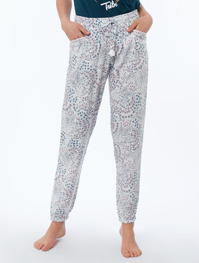 Printed trousers ecru.